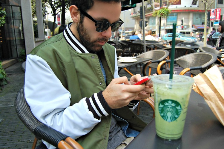 01 college jacket varsity asos fashion sunglasses blogger starbucks prada