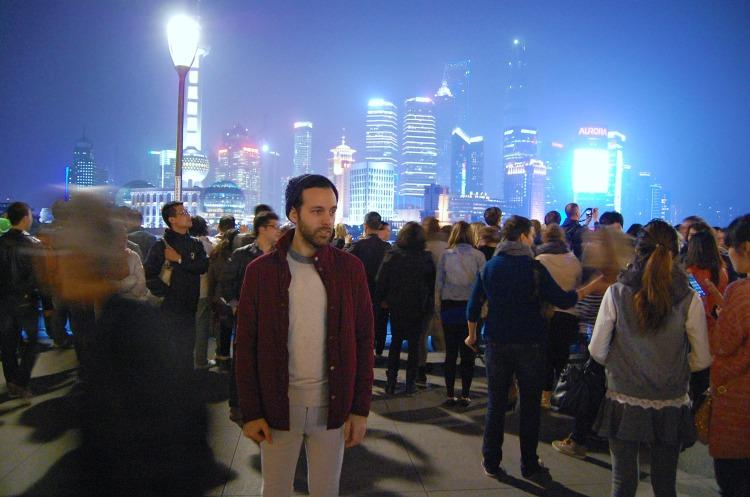 shanghai 10third guy boy lights fun skyscrapers