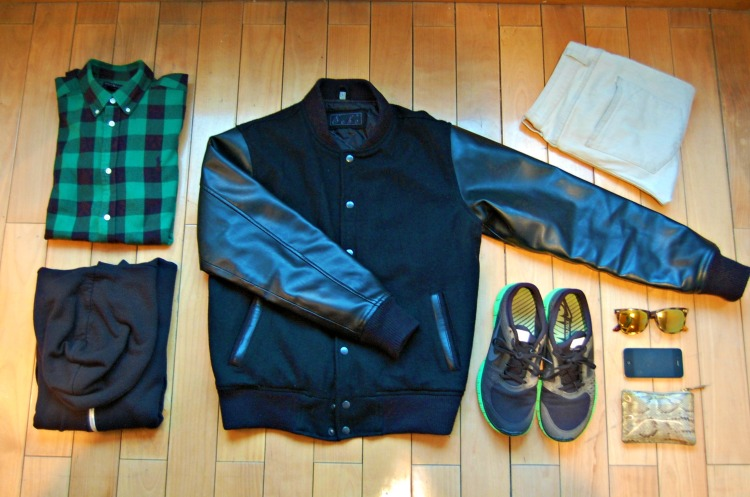 varsity leather jacket ralph lauren check shirt hoddie american apparel nike shoes spektr commes de garcons black