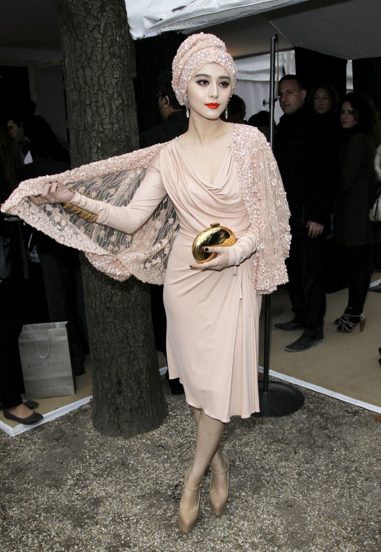 Fan Bingbing in a nude ensemble at the Elie Saab fashion show in Paris
